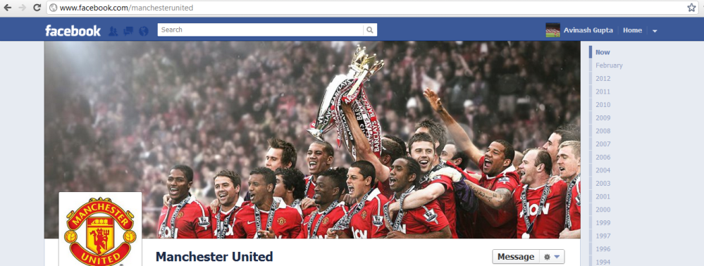 Facebook Page for Manchester United