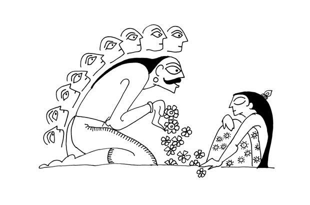 Ravana vowing Sita