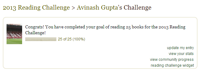 I completed my reading challenge, 17 days in advance