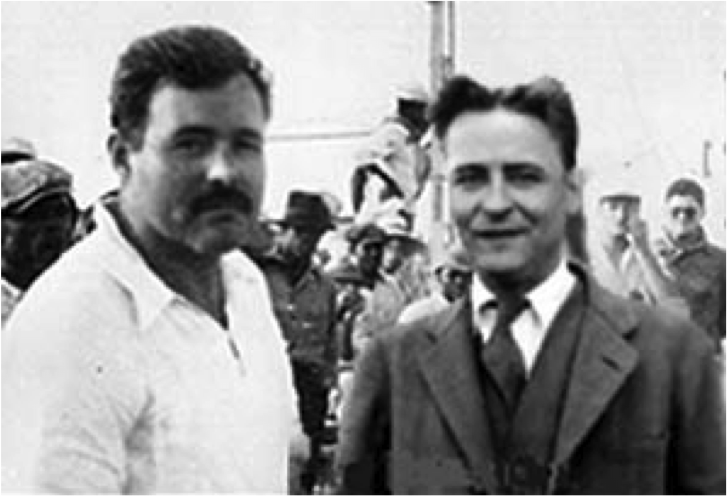 The famous Fitzgerald and Hemingway in Paris picture. Via ernestmillerhemingway.blogspot.com